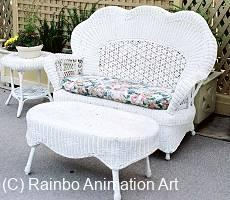 Wicker love seat in the patio