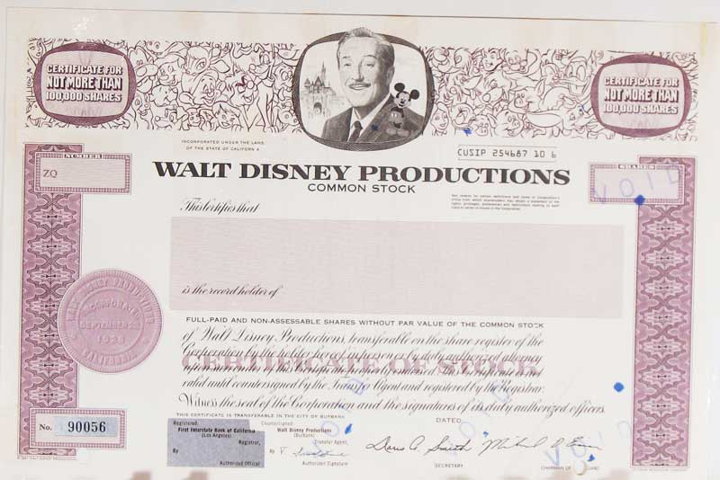 can i still get a disney stock certificate