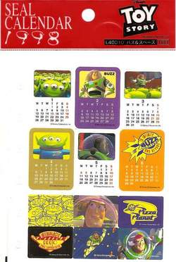 Toy Story 1998 Calendar Stickers - JAPAN image