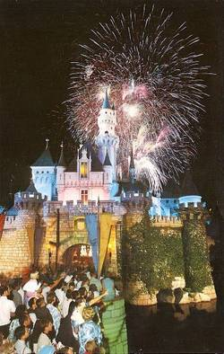 Disneyland Castle Fireworks Postcard