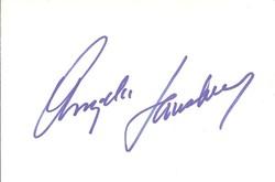 Angela Lansbury Autograph Index Card image