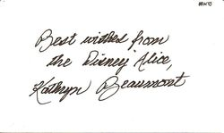 Kathryn Beaumont Autograph Index Card image