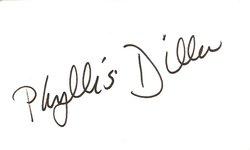 Phyllis Diller Autograph Index Card image