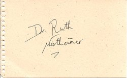 Dr. Ruth Westheimer Autograph image