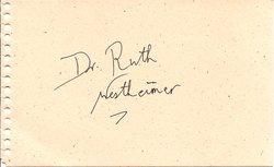 Dr. Ruth Westheimer Autograph image