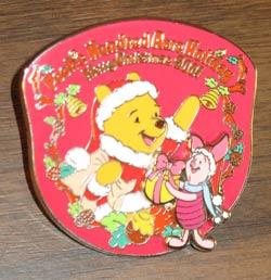 Tokyo Disneyland Christmas Pooh and Piglet Pin image