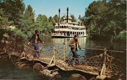 Disneyland Crossing The Rivers of America Postcard image