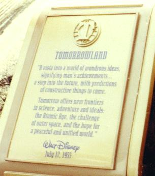 Tomorrowland Dedication Plaque